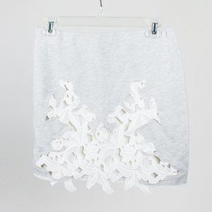 Zara Grey Skirt with Lace Cutout Detail